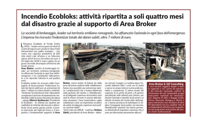 Ecobloks: a soli quattro mesi dall'incendio riprende l'attività grazie al supporto di Area Broker